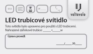 Modifikační štítek na zářivková svítidla