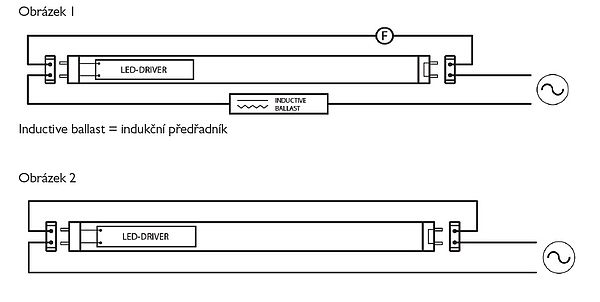 Schémata elektrického zapojení LED trubic Valtavalo